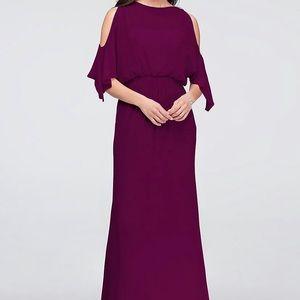 David's Bridal Cold Shoulder Blouson Chiffon Dress